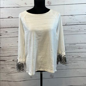 Loft Embroidered Flounce Sleeve Top size Large